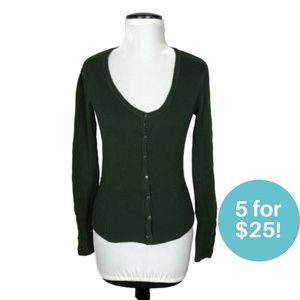 5/$25 - Blitz Girl Green Cardigan Dark Olive M